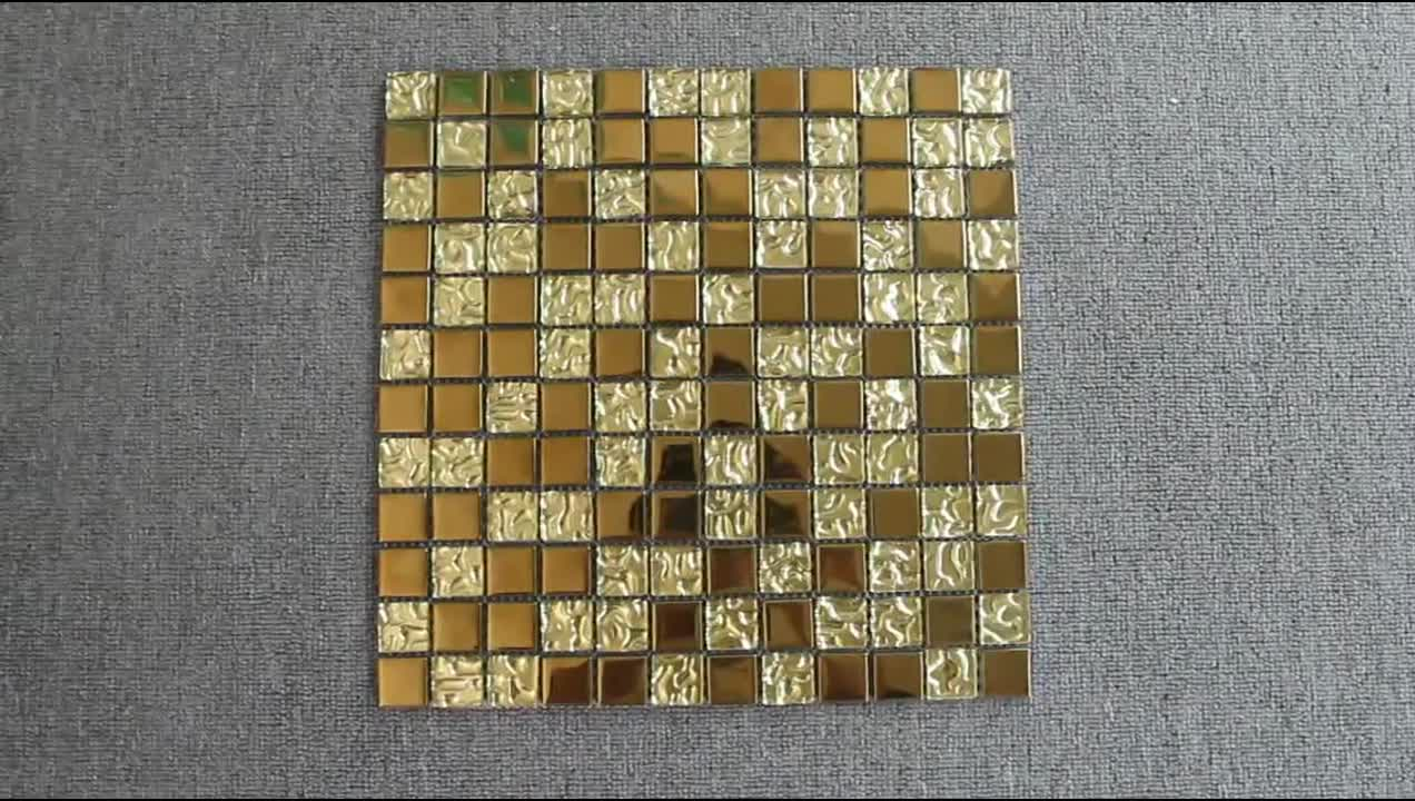 Wholesale 300X300 Luxury Indian Style Gold Color Glass Mosaic Tile