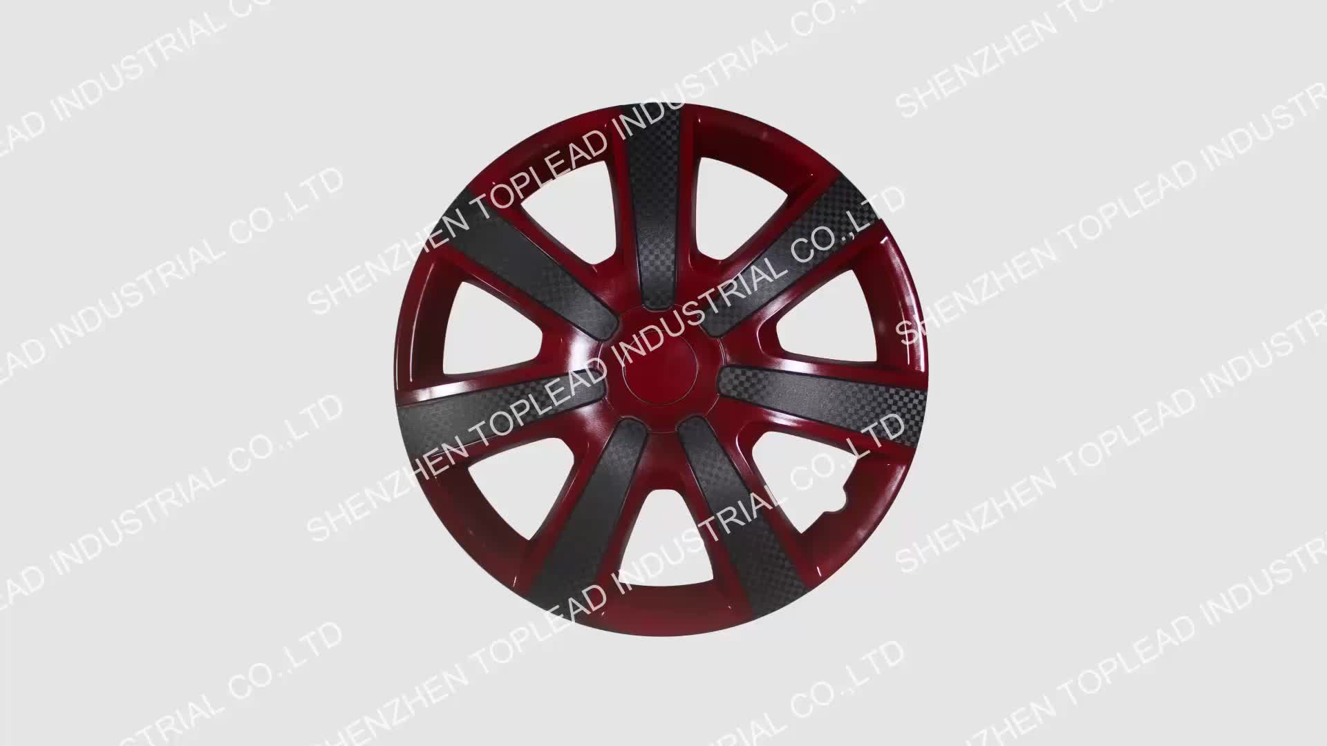 Wholesale Twin-Color Anti-wear Carbon Fiber Car Wheel Center Cover , PP ABS 13 14 15 inch Black and Red Wine Rims