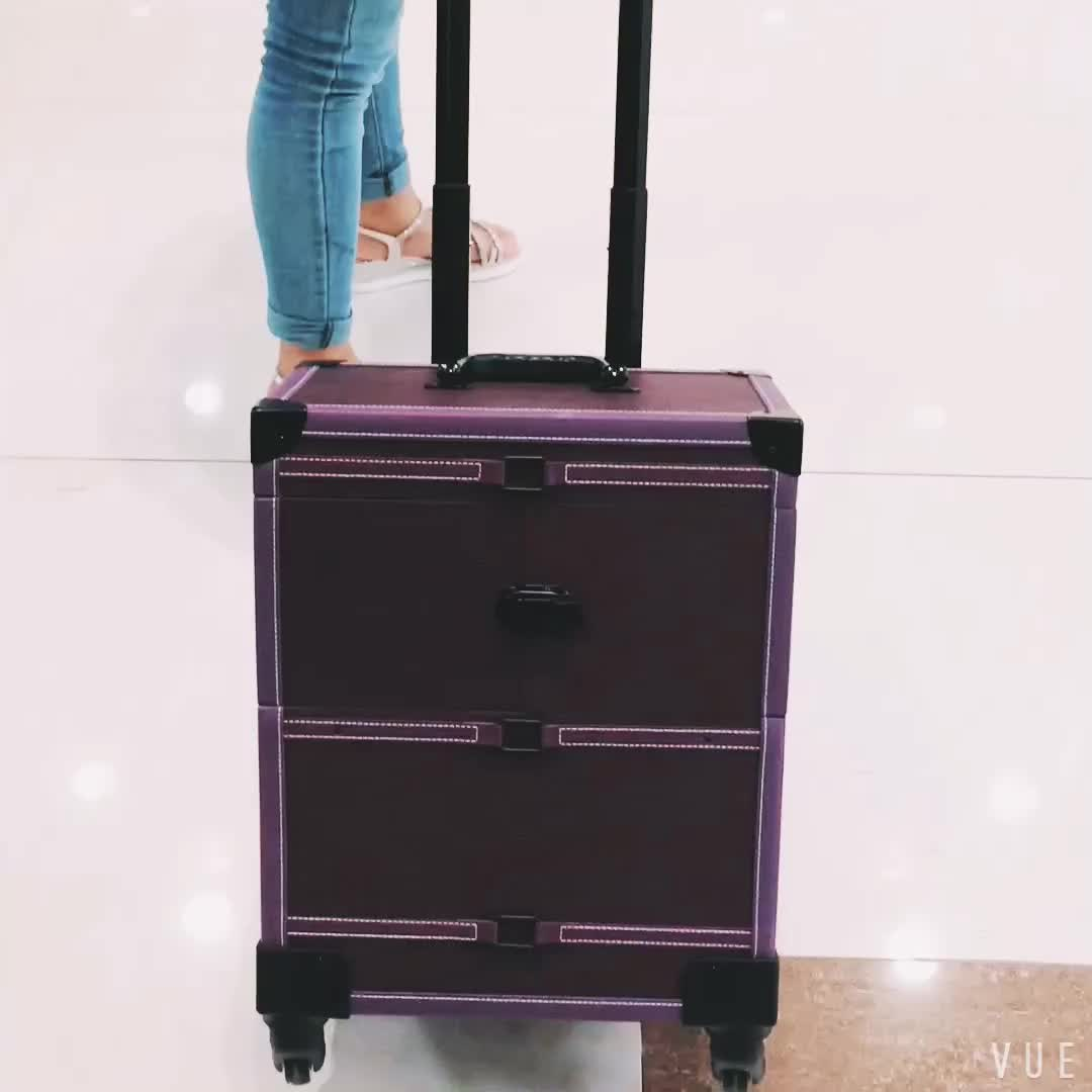 Yaeshii 2019 Professional Travel trolley case Multi-layer Drawer Makeup Box Removable Suitcase Aluminum Frame Wheels Luggage Bag
