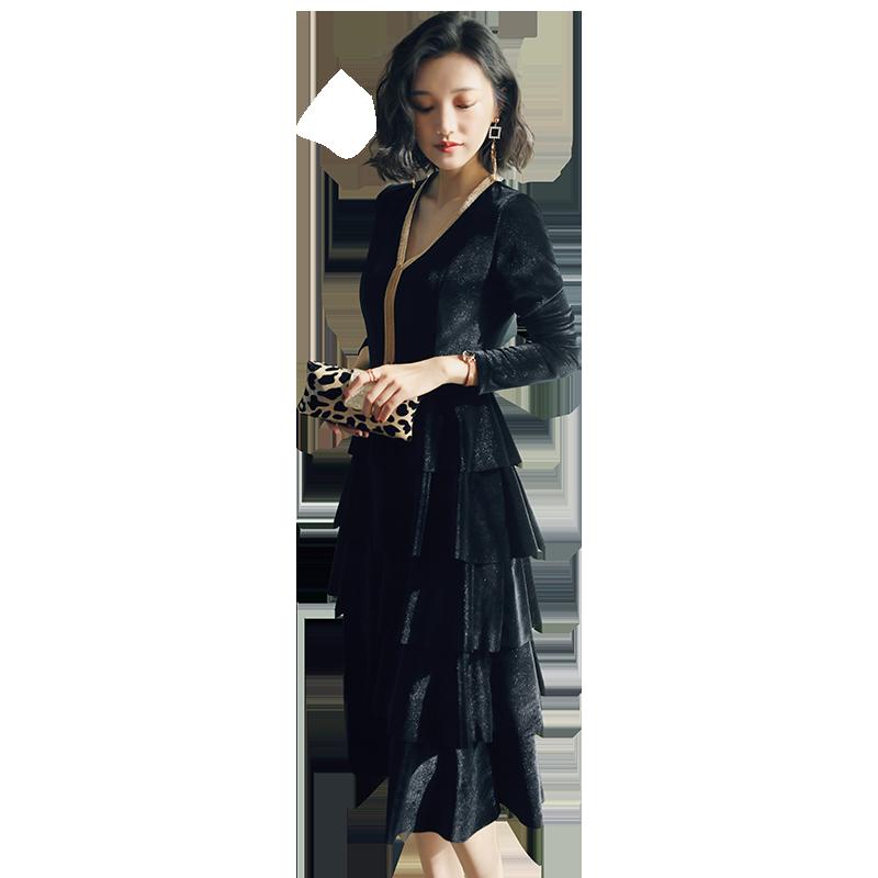 金丝绒连衣裙2019春款过膝气质黑色长裙子新款春装修身超仙蛋糕裙
