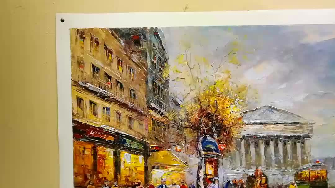 Heavy Impressional Paris Street Scene Oil Painting on Canvas