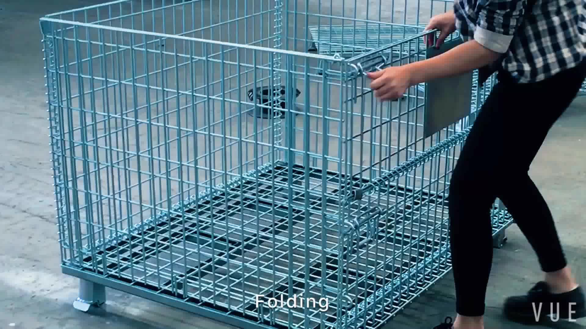 Warehouse Steel Folding Lockable Wire Mesh Metal Storage Cage With ...