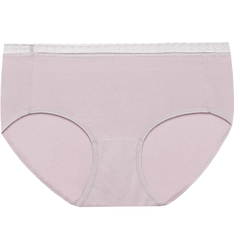 【第二件1元】曼妮芬棉质生活内裤舒适微塑身蕾丝中腰花边三角裤