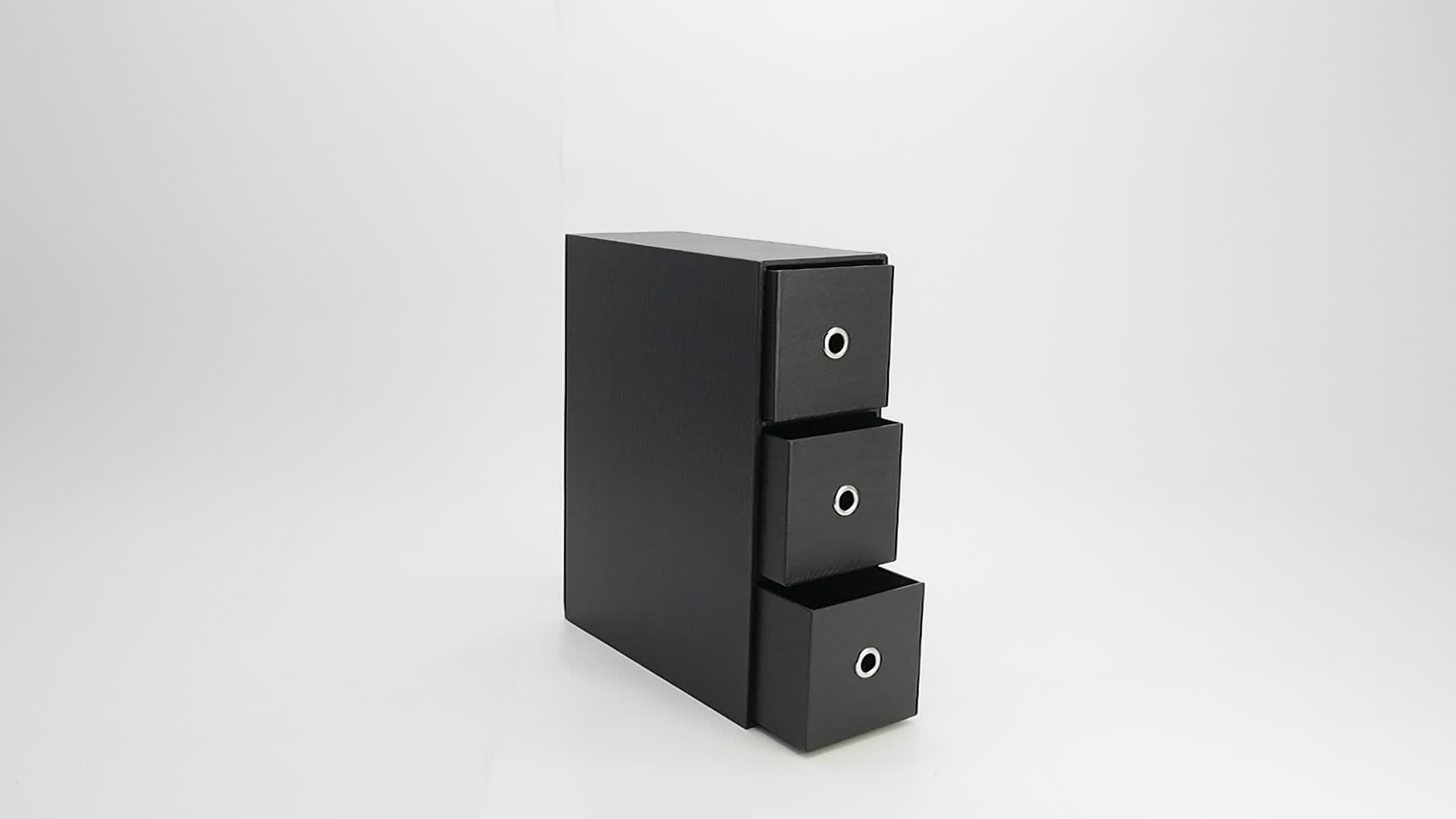 สำนักงานกระดาษแข็งสีเทาลายไม้เรียงลำดับลิ้นชักตู้เก็บกล่อง