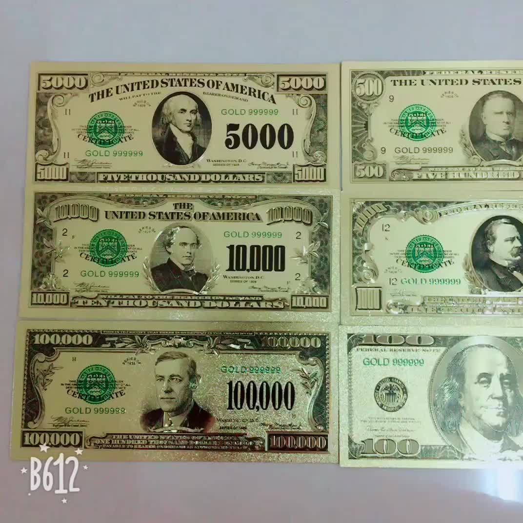 Us Dollar 24k Gold Foil Banknote Fake Money With Color Printing - Buy Us  Dollor Gold Foil Banknotes,Pure Gold Banknote,Custom Fake Money Product on