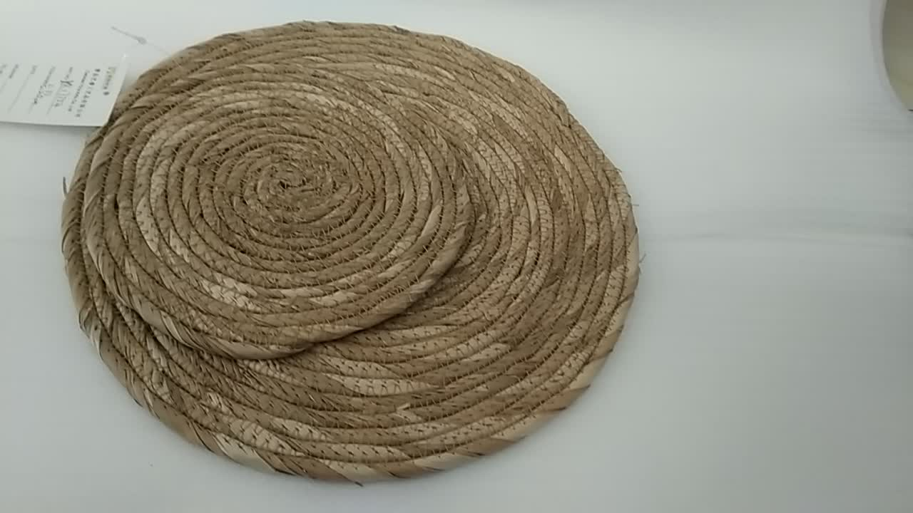 Sewing bulrush cattail rope brown oval table mat /placemat /cuchion set of 2