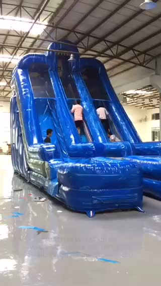 New design inflatable dual lane water slide with pool