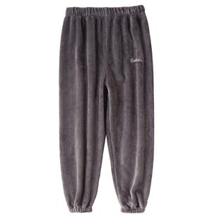 睡裤男秋冬暖暖加长法兰绒单件裤