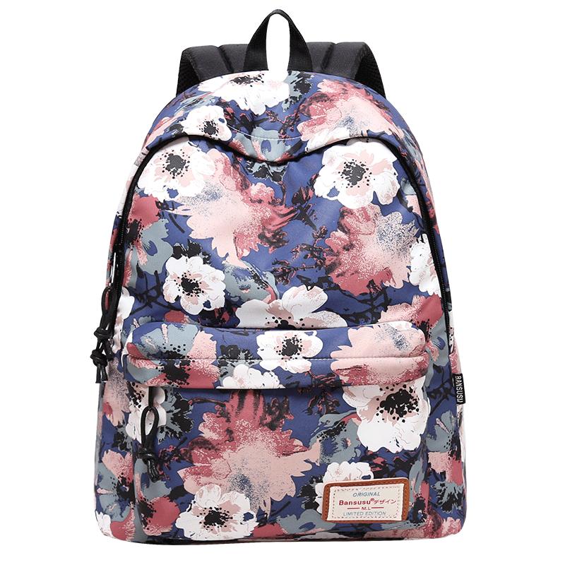 阪元宿宿ins大容量印花双肩包女韩版潮休闲背包中学生书包旅行包