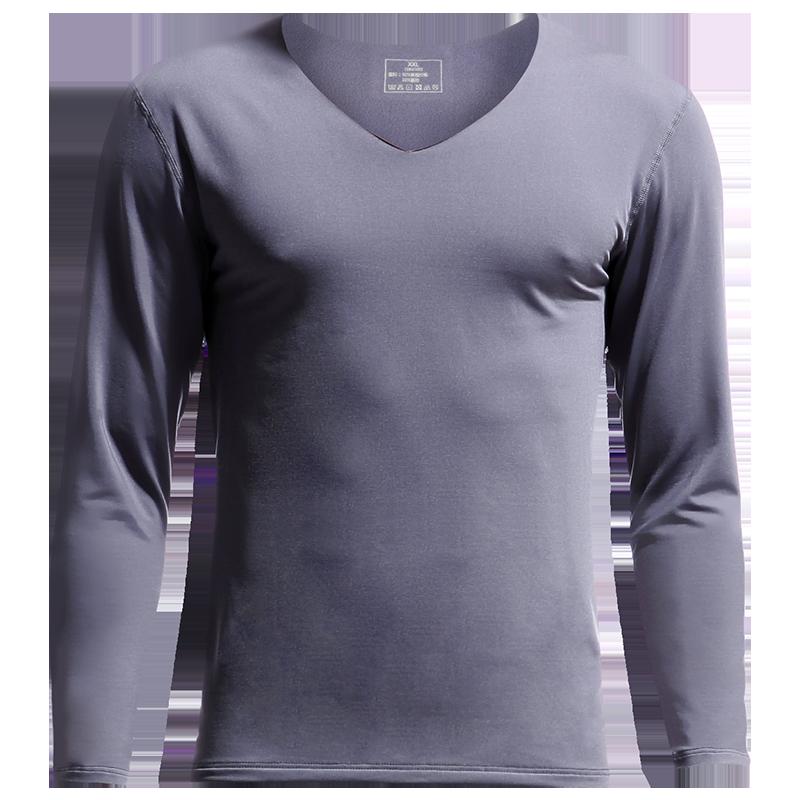 男士无痕保暖内衣上衣V领冬季发热加绒紧身薄款打底衫秋衣棉毛衫