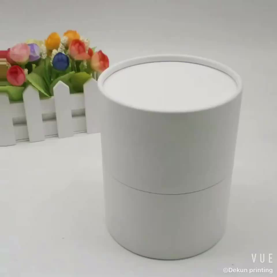 Custom white round small cardboard tube make up cosmetic beauty box packaging with logo wholesale