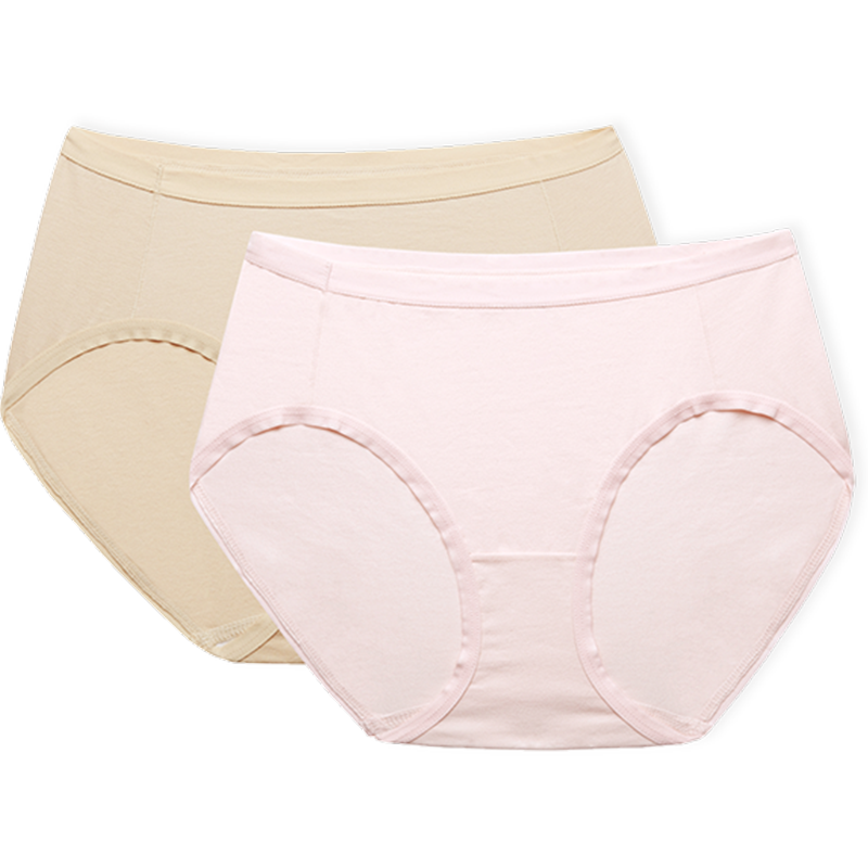 全棉时代中腰女士内裤纯色裆部纯棉舒适透气无痕收腹提臀三角裤头