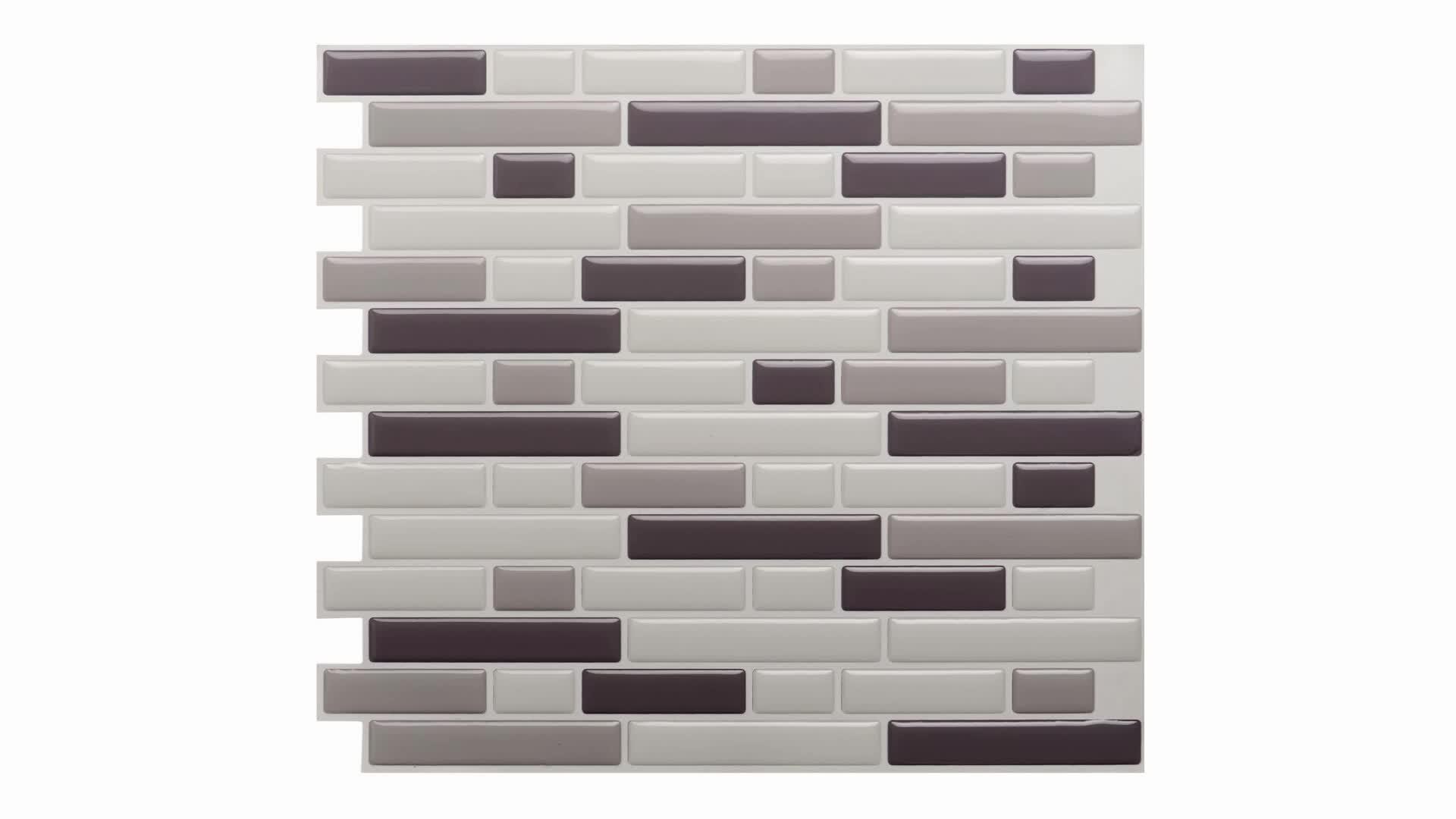 High gloss peel and stick wall tile for kitchen backsplash mosaic