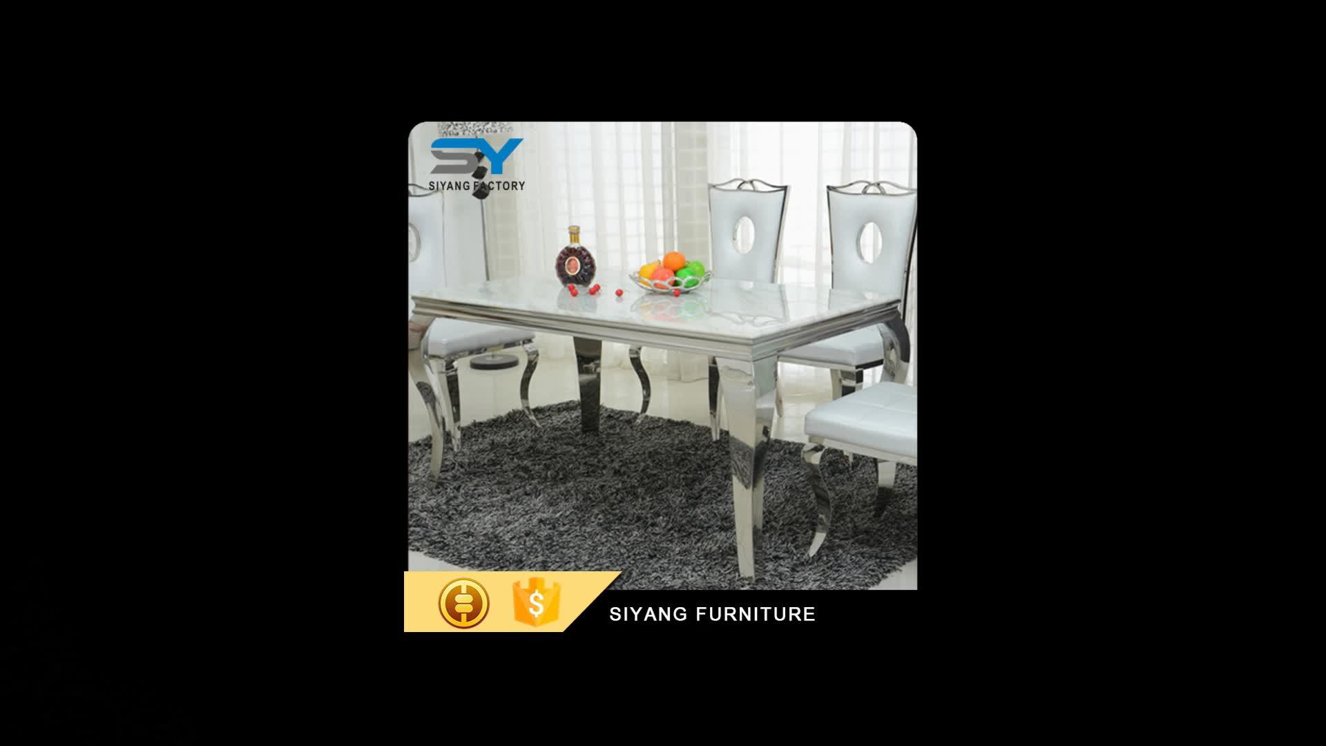 Foshan फर्नीचर कारखाने ग्लास टेबल शीर्ष खाने की मेज सेट के साथ 6 कुर्सियों CT003