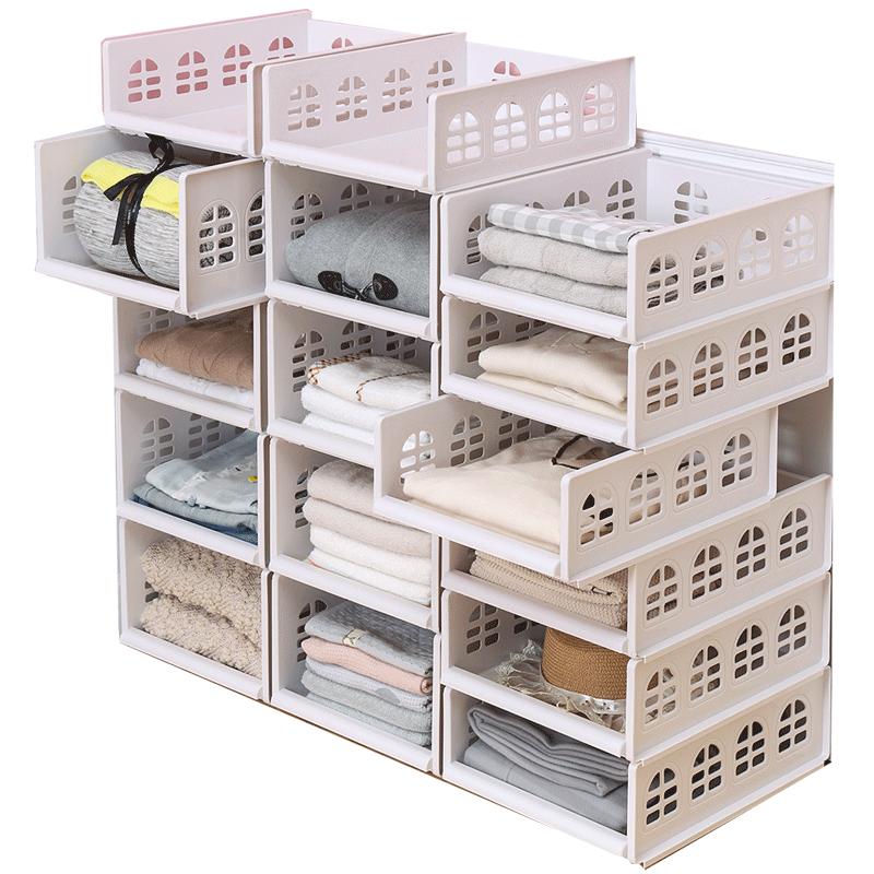 衣柜收纳分层整理隔板衣橱收纳箱塑料抽屉式收纳架储物筐宿舍神器