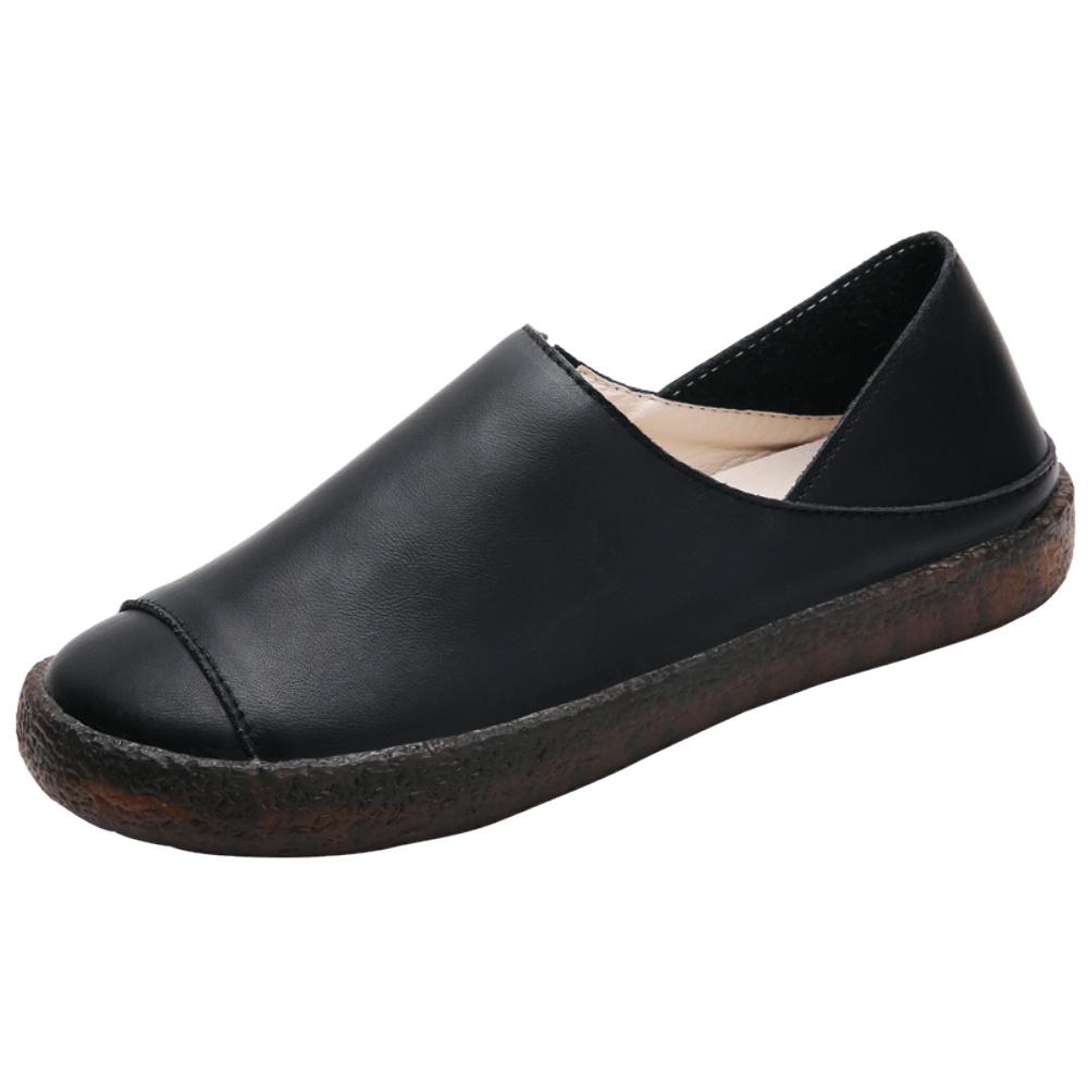 真皮一脚蹬女百搭平底舒适软底皮鞋质量怎么样