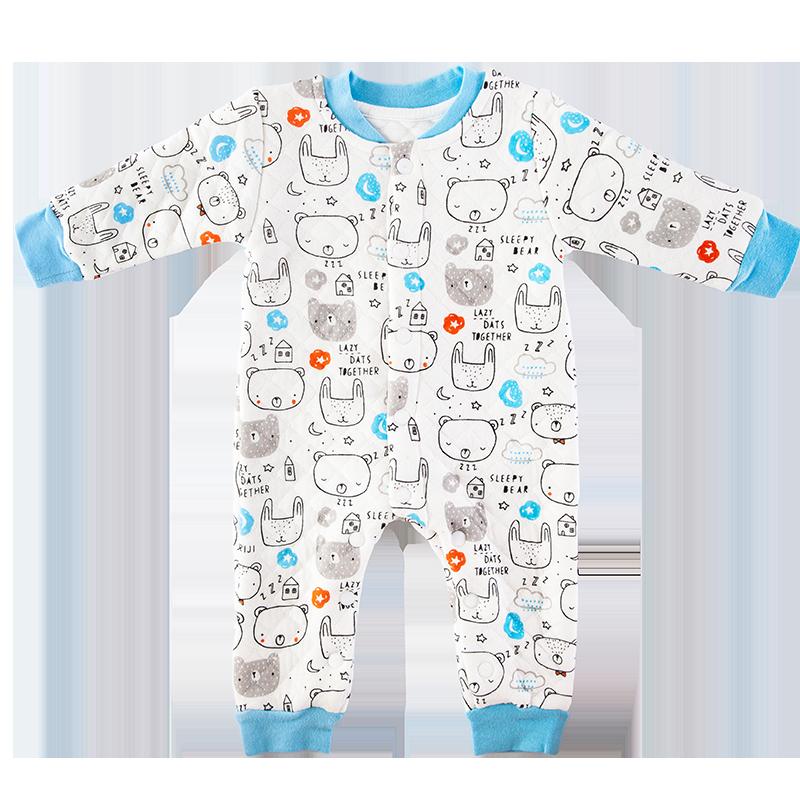 新生婴儿保暖空气棉衣服薄棉连体衣过年秋冬空气层男宝宝夹棉冬装