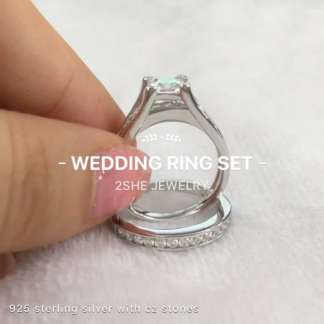 Top Sale 925 Sterling Silver Engagement Wedding Ring Set Buy Engagement Rin