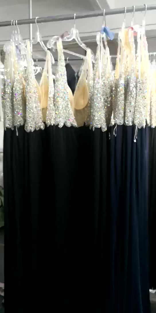 2018 New style sexy v-neck backless beaded evening dress bridesmaid dresses