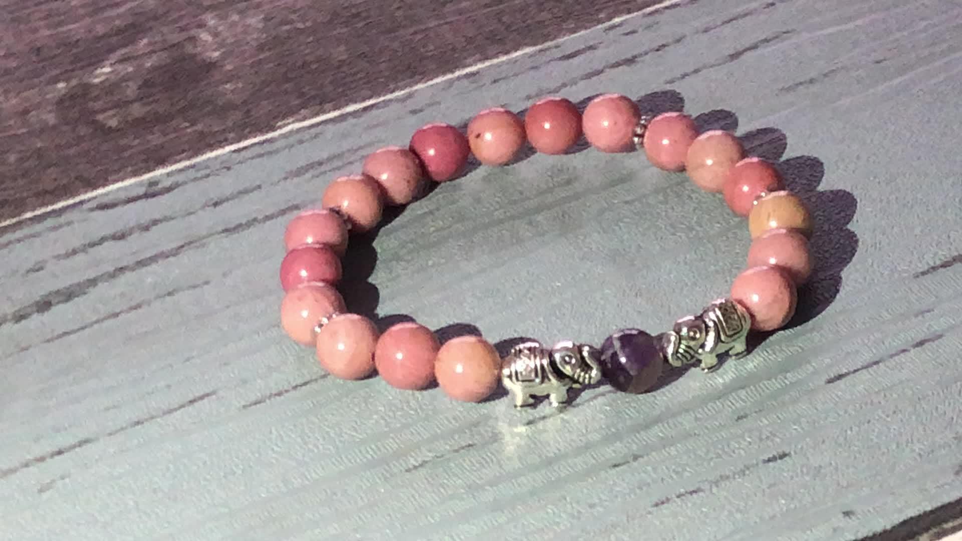 SN1640 Spirituality Bracelet For Women 8mm Meditation Beads Bracelet Aqua Terra Jasper Riverstone & Rhodonite Healing Jewelry