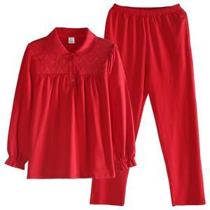 春秋季纯棉长袖大红色本命年睡衣
