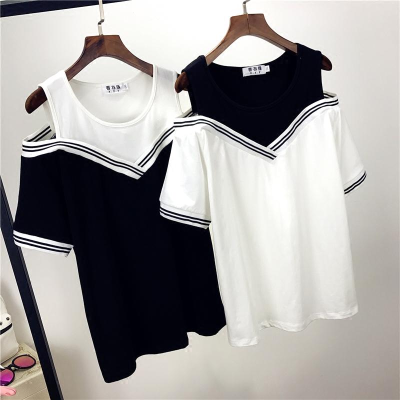 加肥加大码女装胖mm学院风假两件套日系水手服短袖T恤2017夏季新