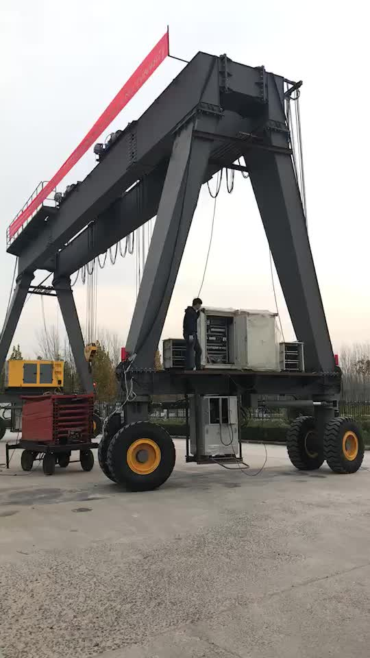 Henan hydraulic double beam rubber tired mobile gantry crane
