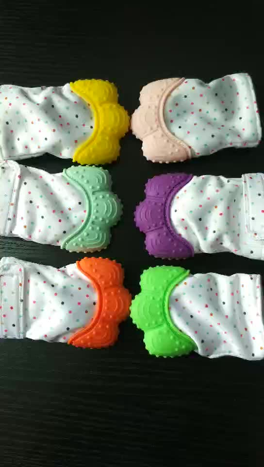 2019 Amazon hot selling massage gums safety food grade teether toys silicone mitten baby teething glove