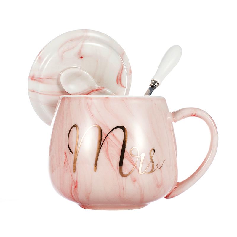 创意马克杯带盖勺潮流个性可爱少女心杯子陶瓷水杯家用牛奶咖啡杯