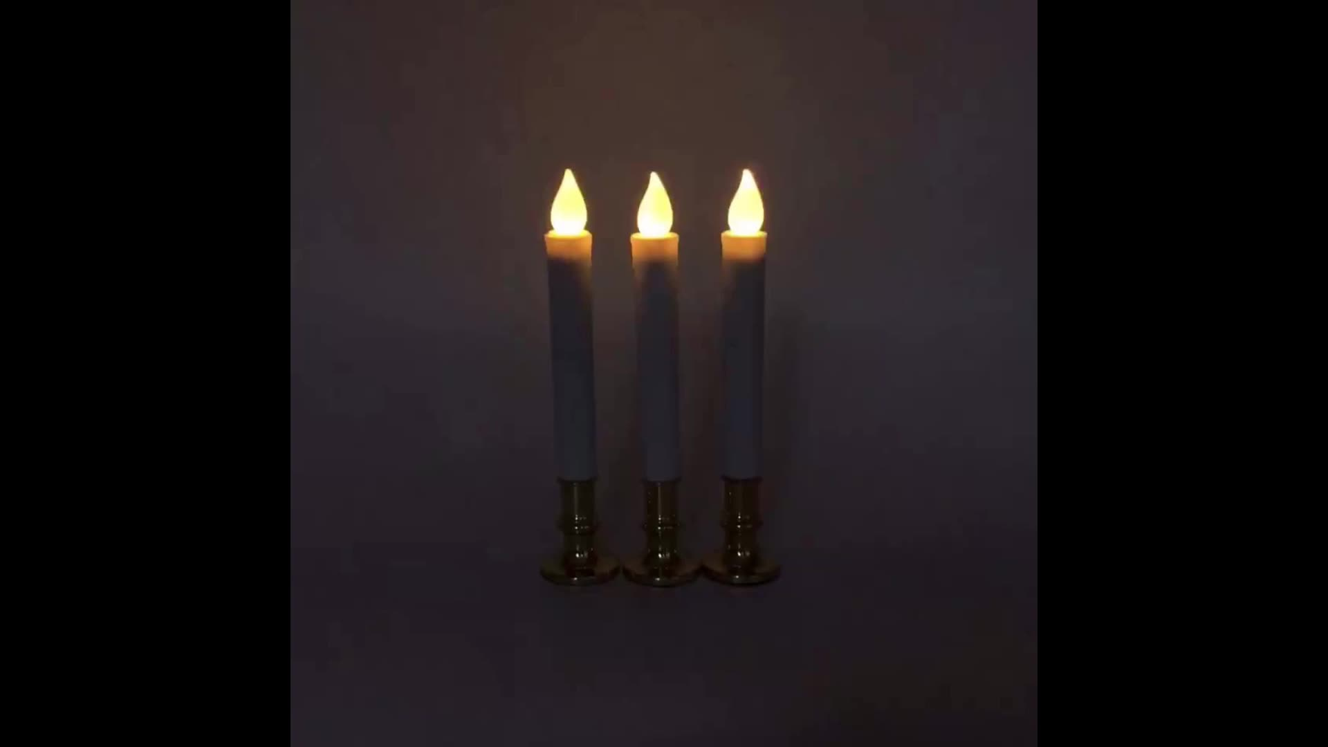 Professional factory supply led flameless battery long household electric light taper candles