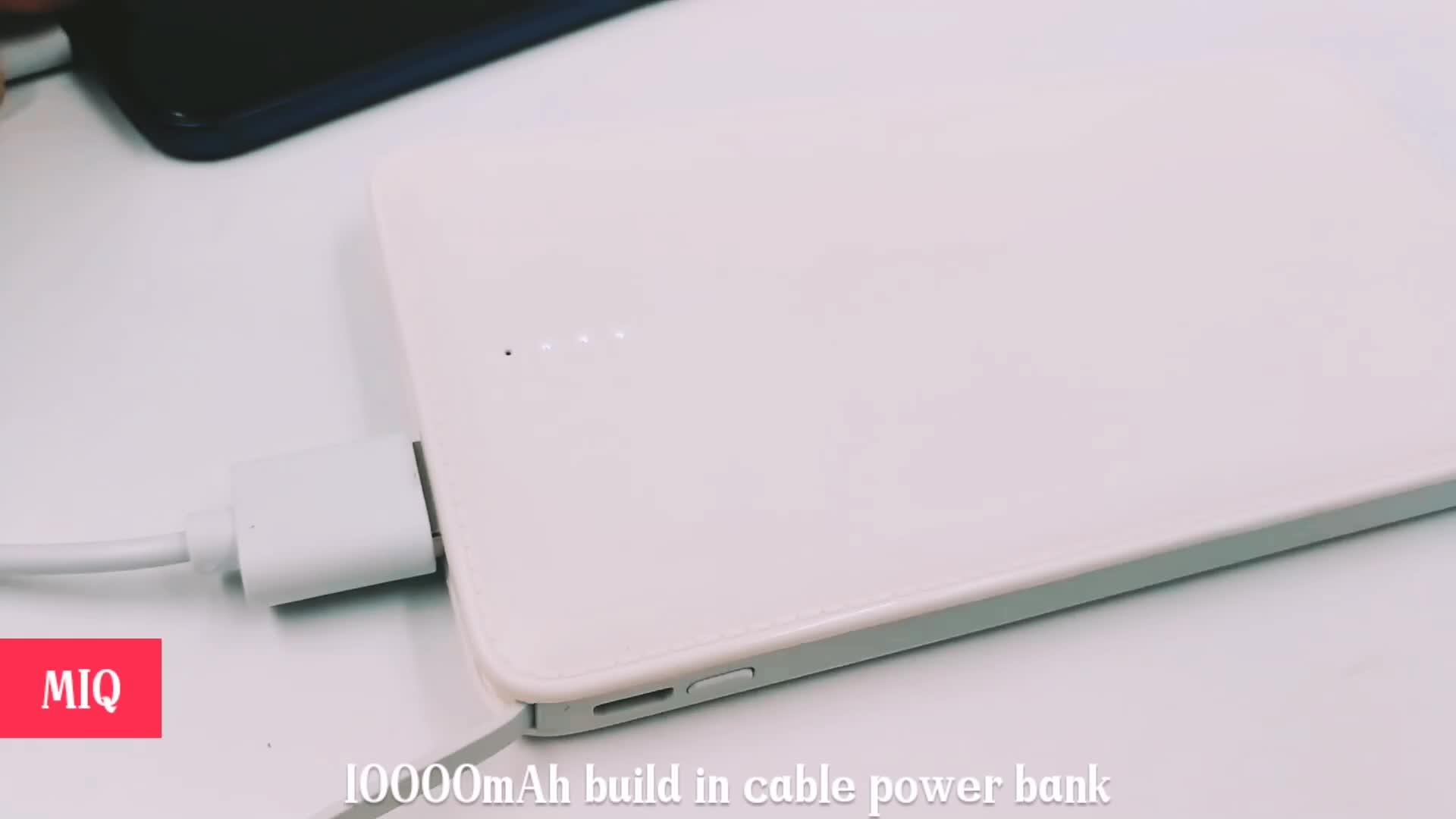 Портативное мобильное зарядное устройство Powerbank ultra slim встроенный usb-кабель 10000 мАч Power Bank