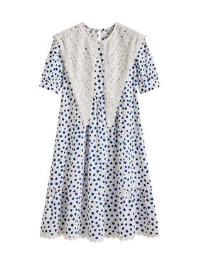 ANNZ夏季2020新款可爱设计感小众宽松显瘦泡泡袖短袖波点连衣裙女