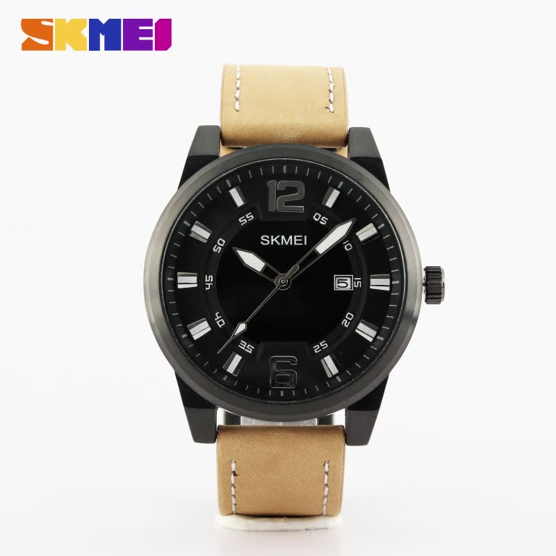leather band SKMEI 1221 men's fashion watches movement wholesale from China alibaba