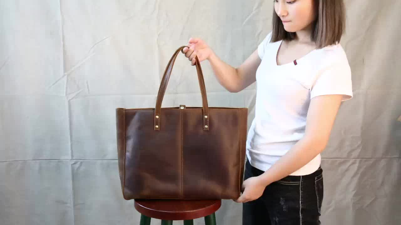 Handmade Genuine Leather Handbag Large Capacity Elegant Leisure Women Tote Bag vintage leather bag for ladies