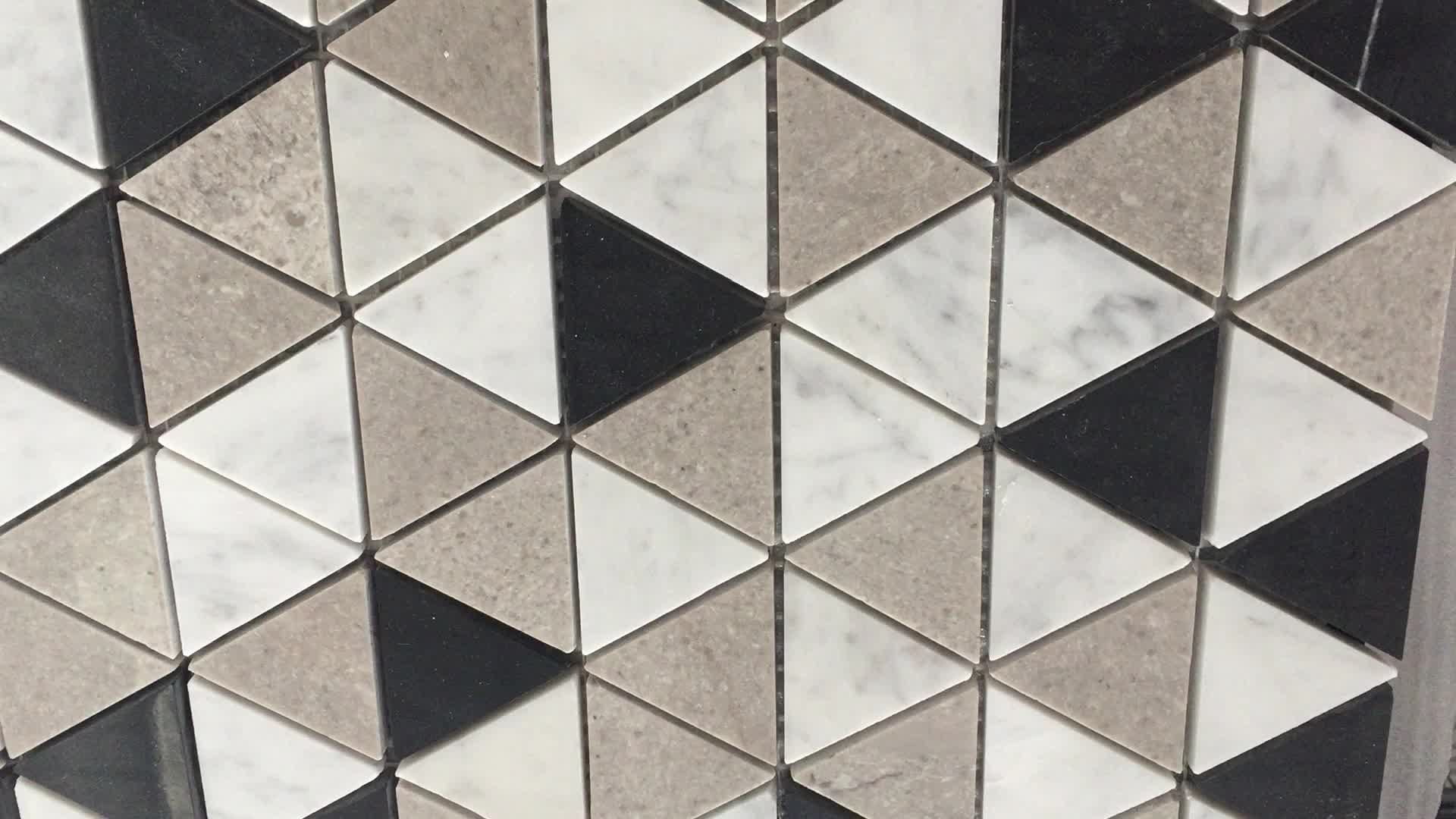 Black White And Grey Marble Triangle Shape Mosaic Floor Tile - Buy ...