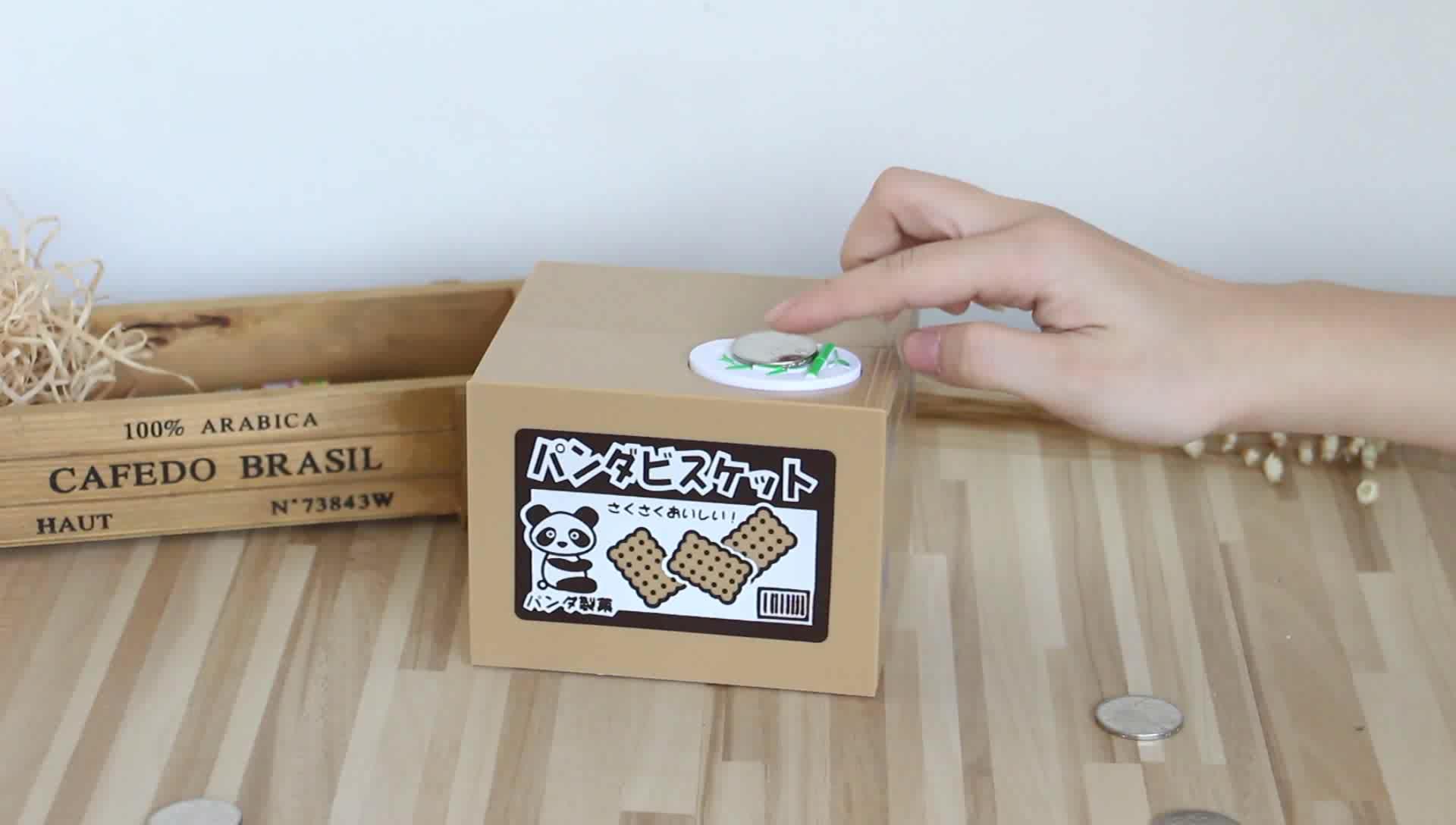 Xiaoboxing Groothandel Custom Plastic Vierkante Stelen Munt Spaarpot Met Geluid Alcancia De Panda Dieren Spaarpotten