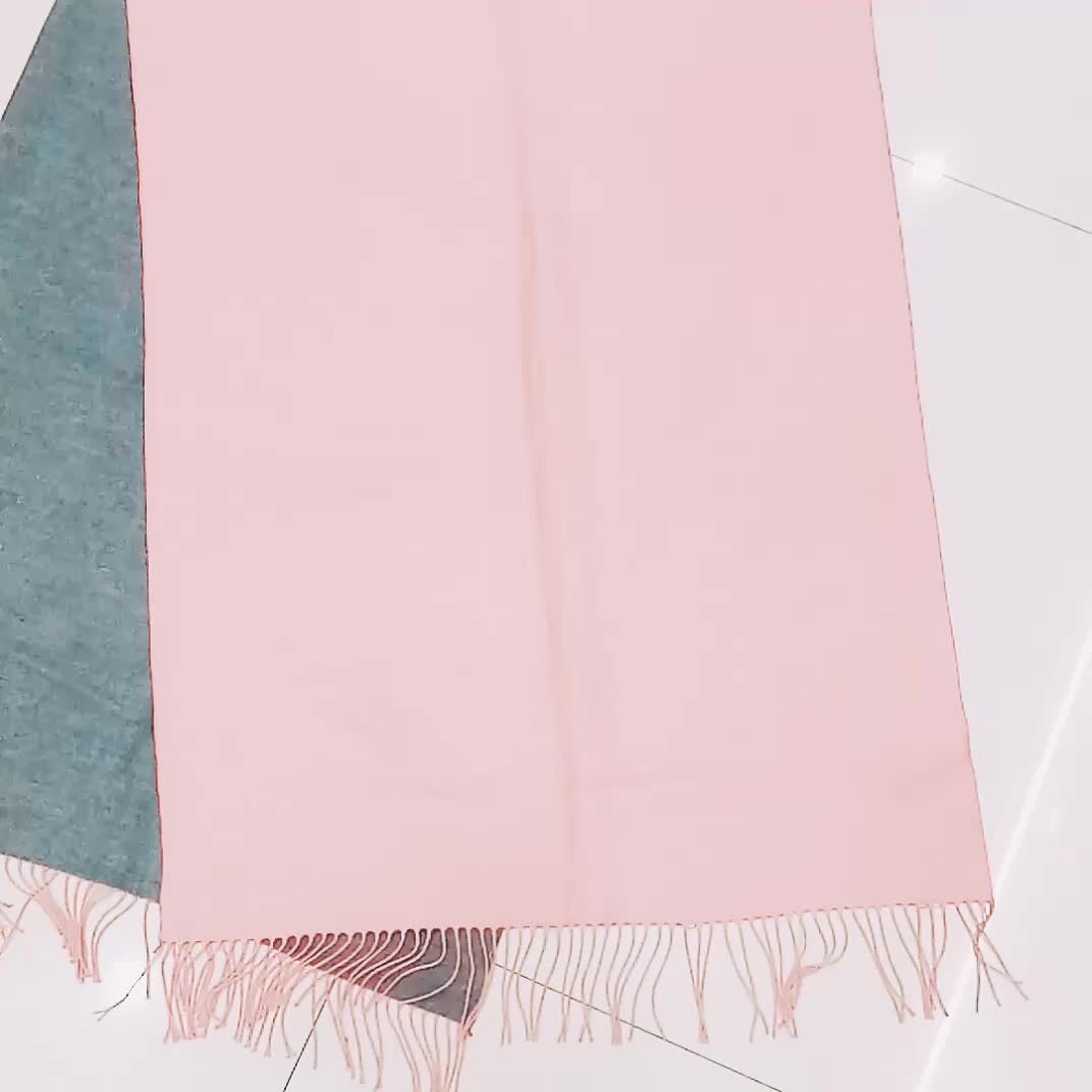 Wholesale Solid Color Two Sided Wool Reversible Elegant Wrap Scarf Stole Shawl Poncho Scarves