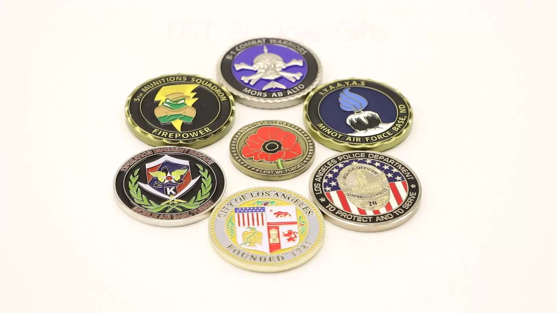 High quality custom cheap challenge coins no minimum zinc alloy shiny plated challenge coin with soft enamel
