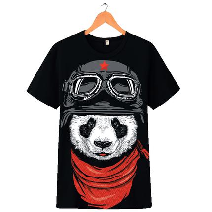 潮夏季男装panda短袖3d卡通t恤