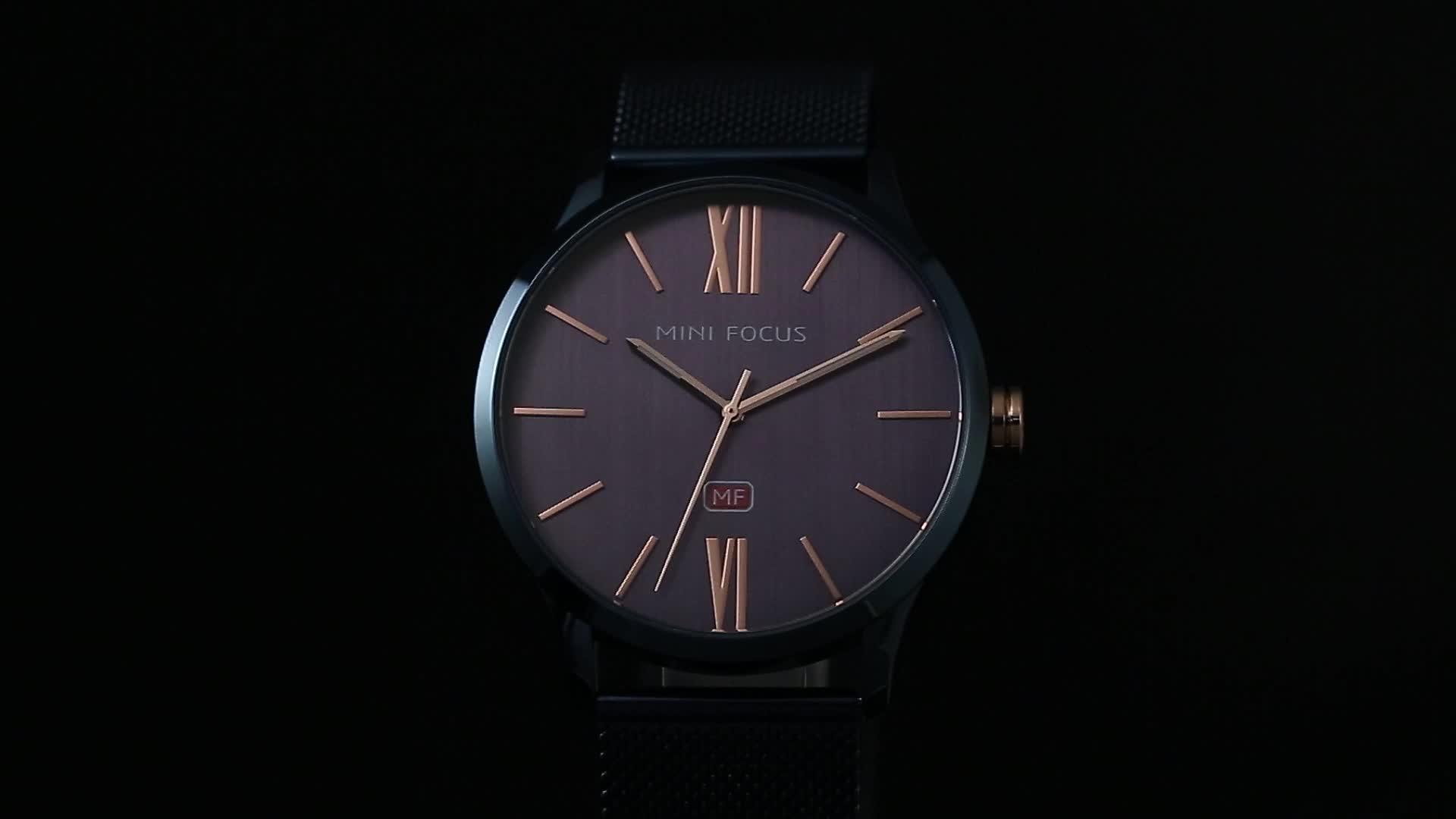 Mini Focus Merk Uw Eigen Logo Mannen Quartz Analoog Polshorloge met Mesh Band Gratis Sample reloj horloge