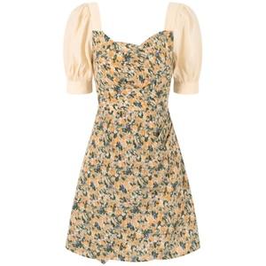 法式碎花裙拼接雪纺短袖收腰裙子