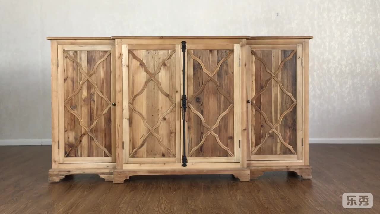 antique french retro rustic country style reclaimed large wooden sideboard