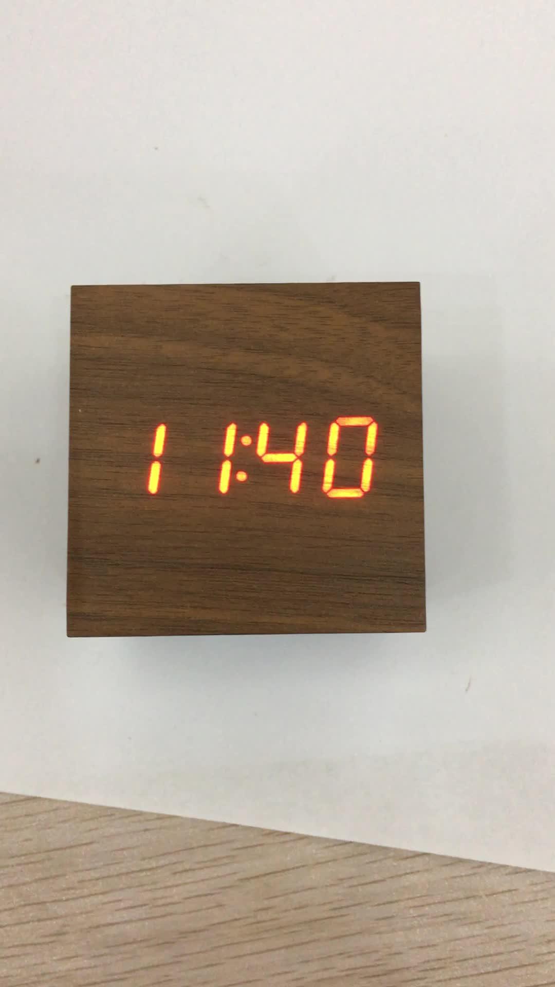 new material Digital Desk Clock Wood Alarm Clock ROHS wooden led digital alarm clock