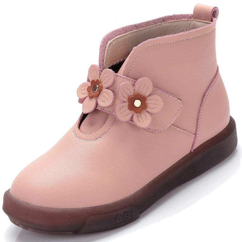 女童公主靴子韩版真皮鞋短靴2018新款春秋冬季加绒宝宝儿童棉靴女
