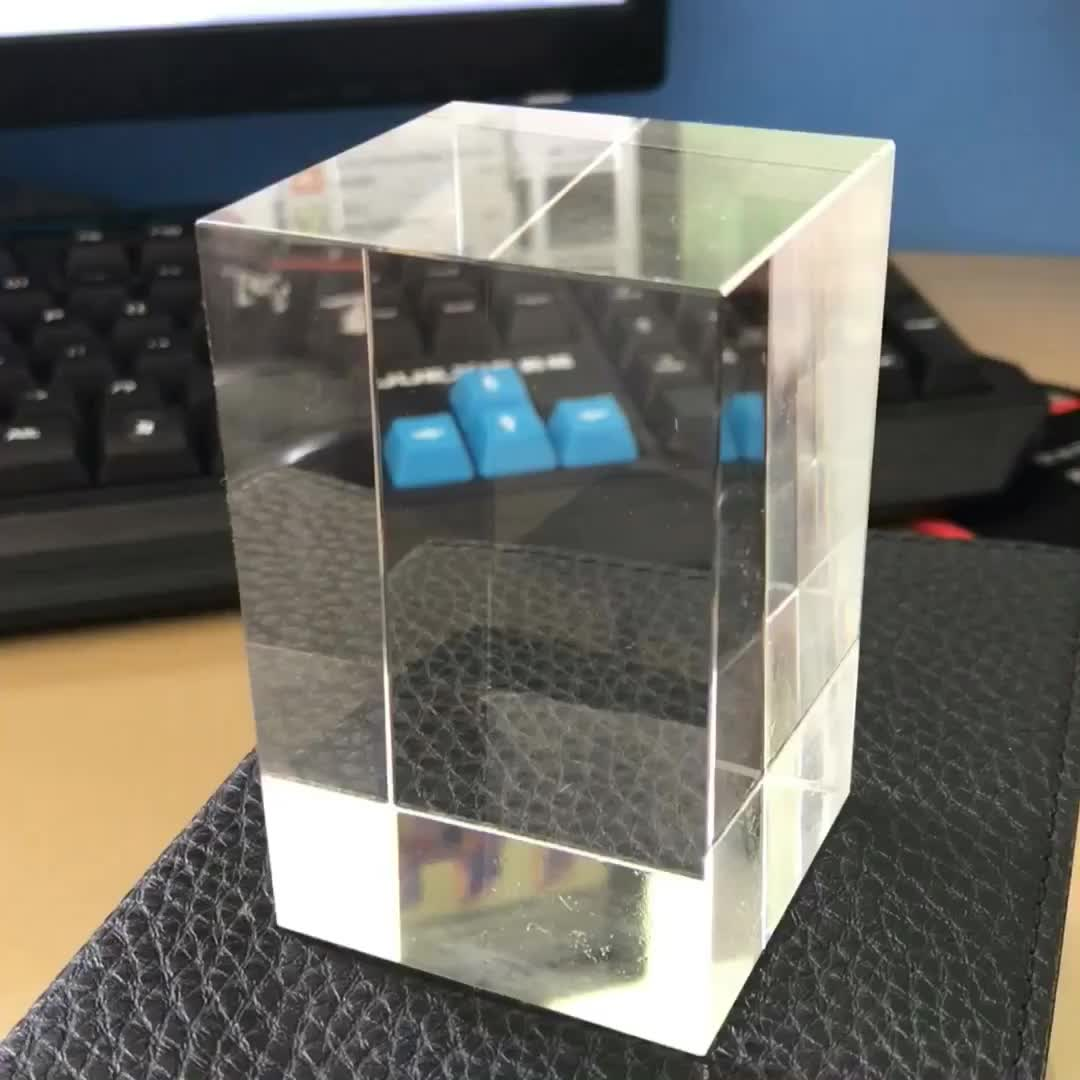 3d Laser Engraving Crystal Glass Cube For Customized