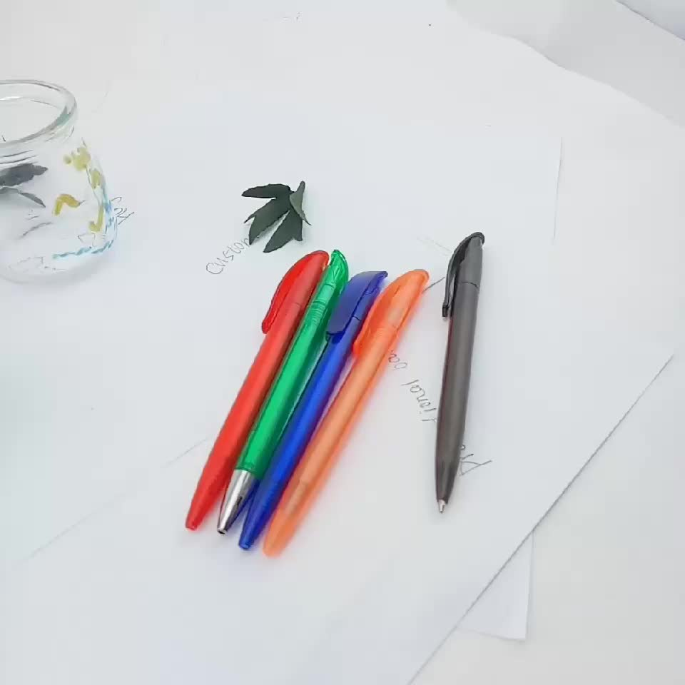Metal Sliver Color tainless stell Click Promotion Plastic Ball Pen