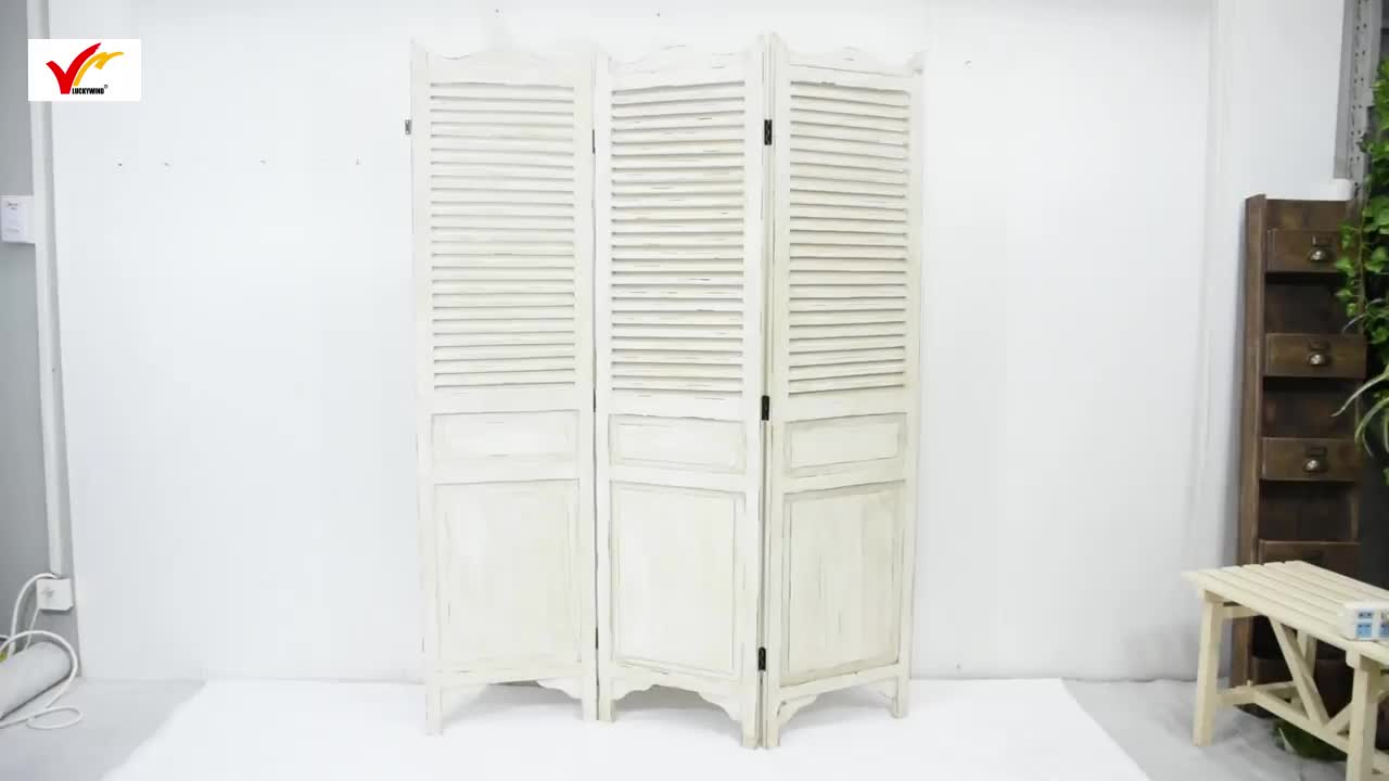 Hand painted Shabby Chic French Country Wooden Folding Screen Room