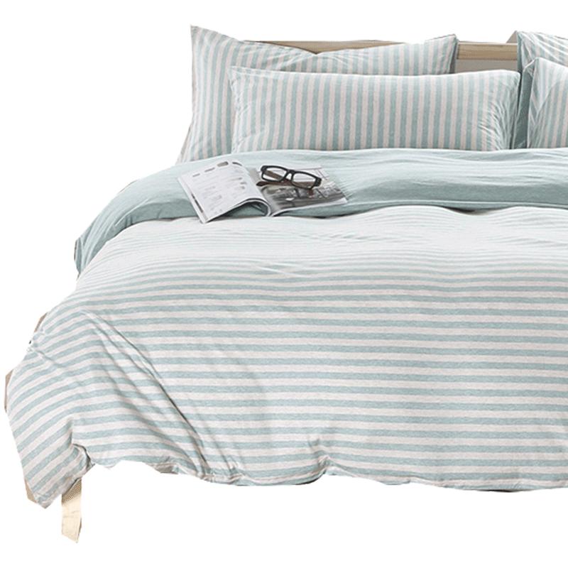 雅娴家纺针织纯棉四件套床品四件套全棉条纹纯色床笠被套床上用品
