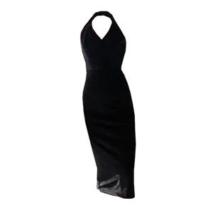 qz03真丝丝绒小黑裙挂脖v领连衣裙