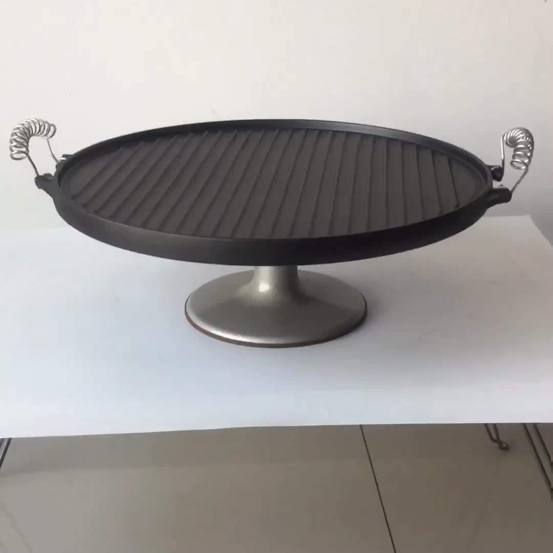 両面可逆グリル鋳鉄鉄板焼きグリドルとワイヤーハンドル